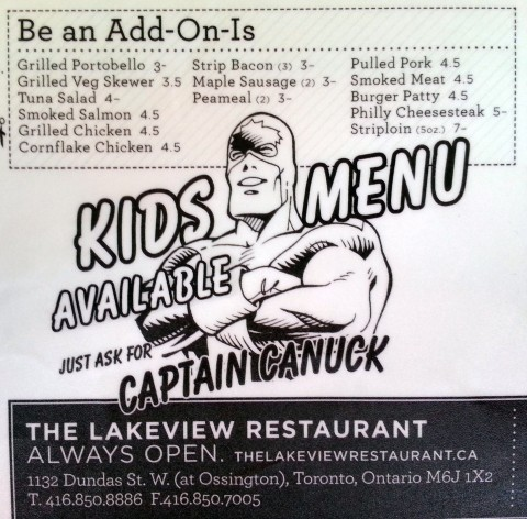 From the menu of the Lakeview Restaurant