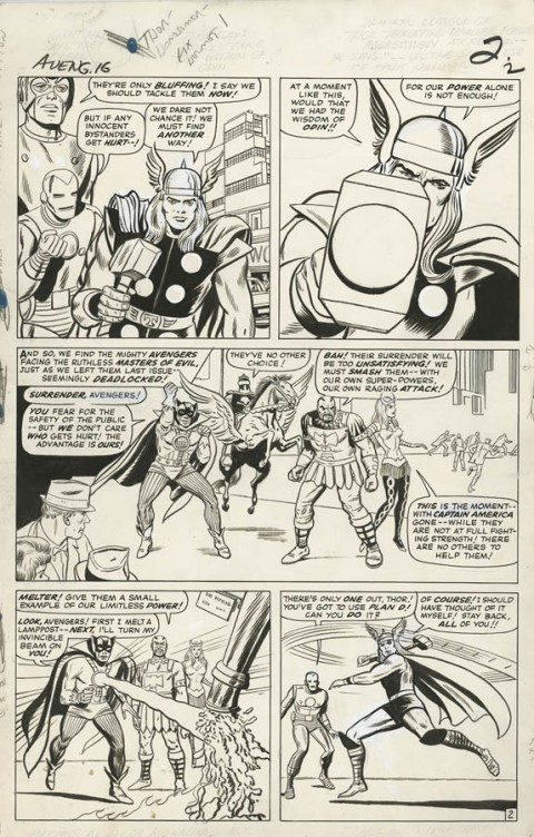Avengers issue 16 page 2 by Jack Kirby and Dick Ayers.  Source.