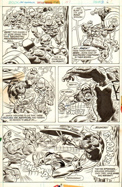 Captain America issue 187 page 6 by Frank Robbins and Frank Chiaramonte.  Source.