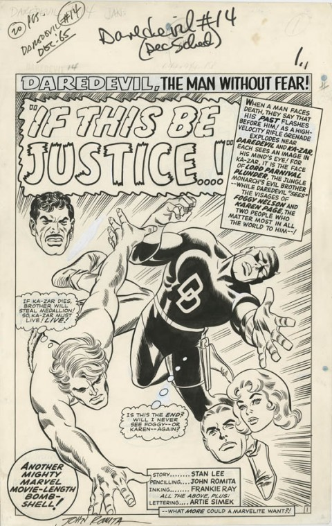 Daredevil issue 14 splash by John Romita and Frank Giacoia.  Source.