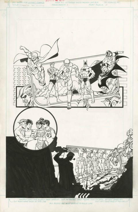 History Of The DC Universe issue 2 page 31 by George Perez and Karl Kesel.  Source.