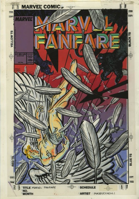 Marvel Fanfare issue 40 cover color guide by David Mazzucchelli.  Source.