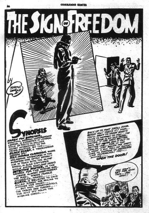 Adrian Dingle Sign of Freedom splash from Commando Comics 19