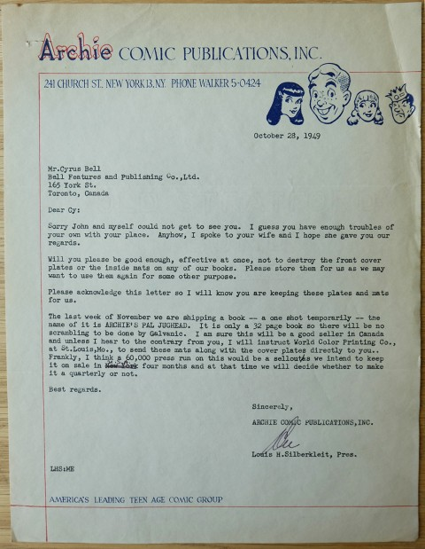 Letter offering Jughead Comics No. 1 for reprinting in Canada