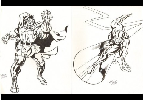 Doctor Doom and Silver Surfer by Steve Rude.  Source.