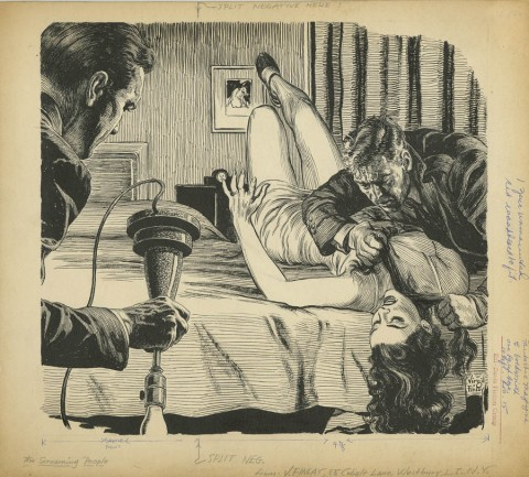 Fantastic Magazine Screaming People by Virgil Finlay.  Source.