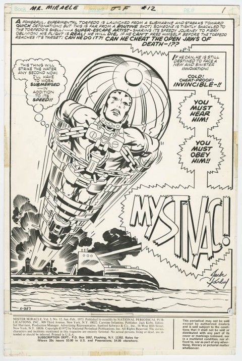 Mister Miracle issue 12 splash by Jack Kirby and Mike Royer.  Source.