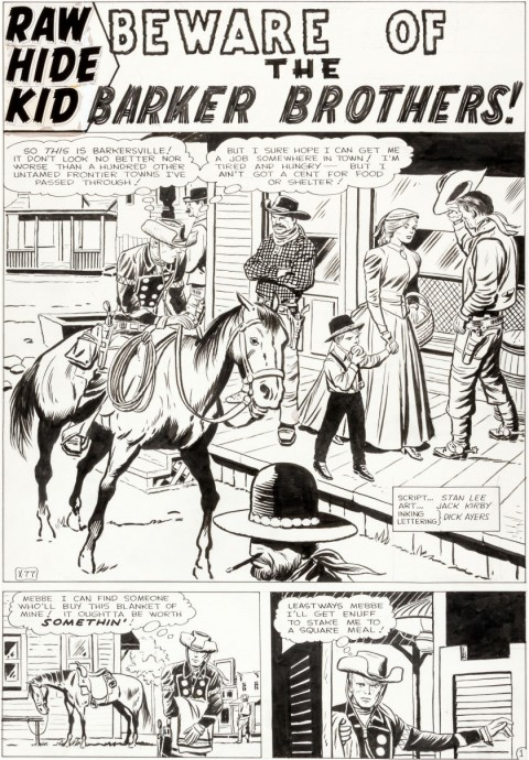 Rawhide Kid issue 32 page 1 by Jack Kirby and Dick Ayers.  Source.