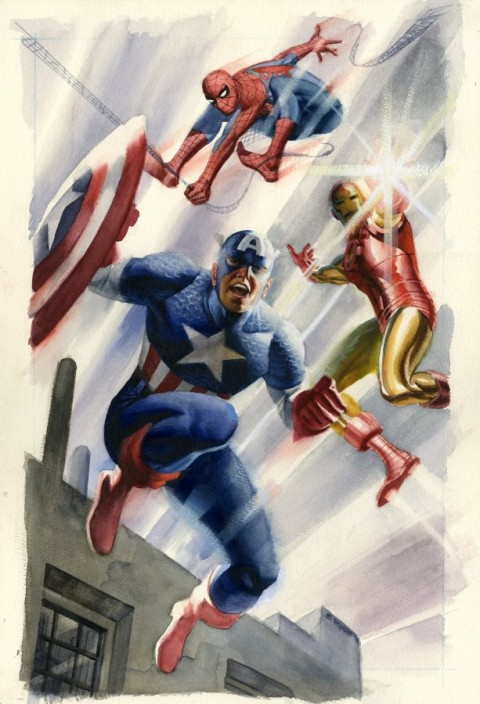 Spider-Man, Iron Man and Captain America by Steve Rude.  Source.