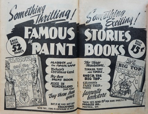 Centerspread from Canadian Heroes Vol. 3 No. 4 advertising the paint books.