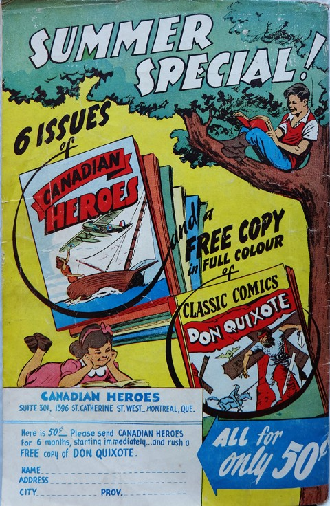 The back cover of Canadian Heroes Vol. 4 No. 3 with the Classics Comic giveaway.