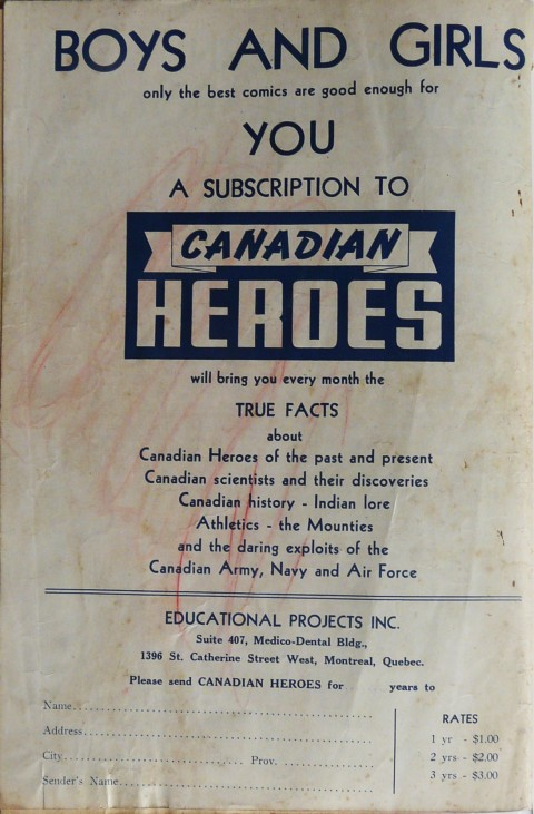 Back cover of Famous Adventure Stories No. 1 stating the Canadian Heroes content mandate.