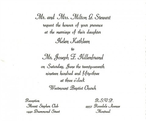 The wedding invitation to Joseph Hillenbrand's wedding in 1953.