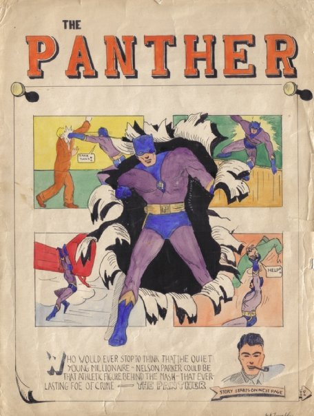 Hand coloured unpublished Batman-styled splash by Jack Tremblay when he was about 13