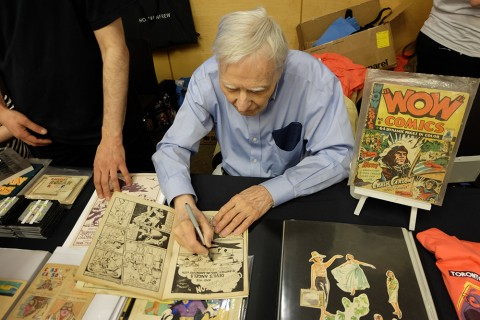 Jack Tremblay signing my copy of Wow Comics 10