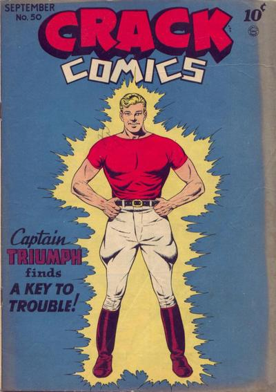 The cover from Crack Comics No. 50 featuring Captain Triumph