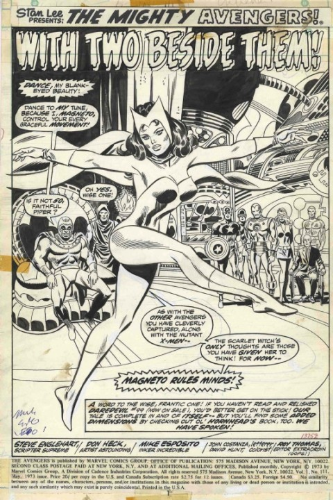 Avengers issue 111 splash by Don Heck and Mike Esposito.  Source.
