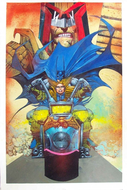 Batman/Judge Dredd: Judgement on Gotham page 29 by Simon Bisley.  Source.