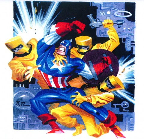 Captain America vs AIM by Bruce Timm.  Source.