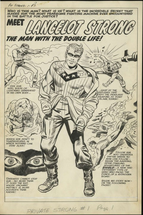 Double Life Of Private Strong issue 1 splash by Jack Kirby and Joe Simon.  Source.