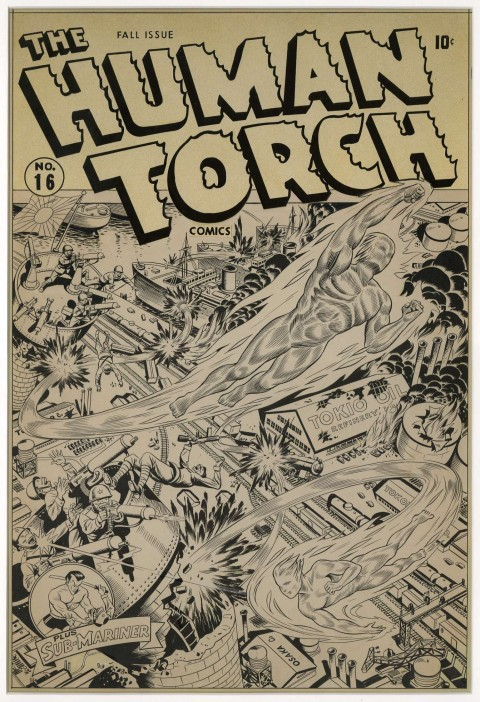 Human Torch issue 16 cover by Alex Schomburg.  Source.