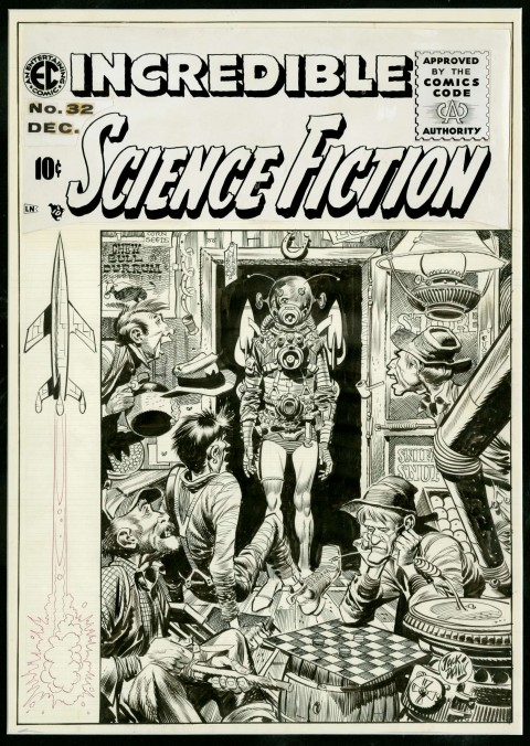 Incredible Science Fiction issue 32 cover by Jack Davis.  Source.
