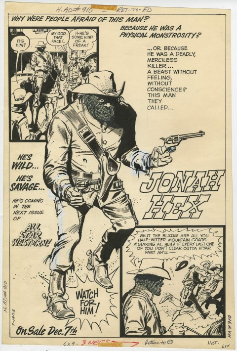 Jonah Hex house ad by Tony DeZuniga.  Source.