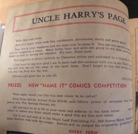 Inside front cover to Name-It Comics No. 1 explaining the contest.