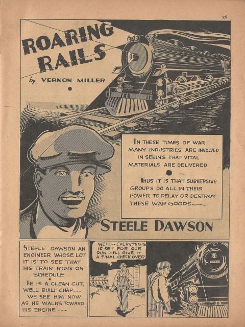Roaring Rails splash from Name-It Comics