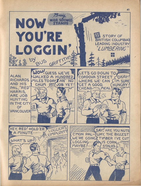 The first page of the very first ever now You're Loggin story from Name-It Comics