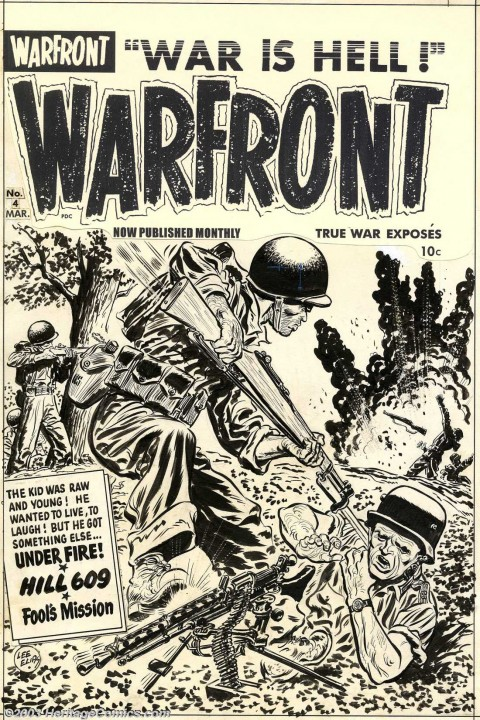 Warfront issue 4 cover by Lee Elias.  Source.