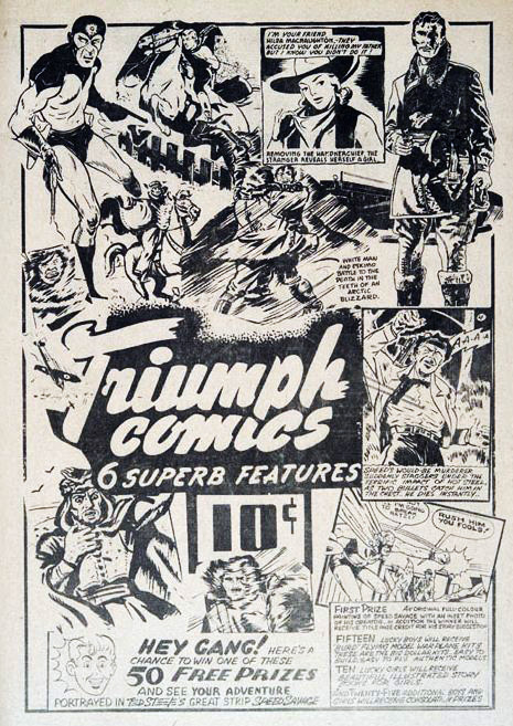 A Nelvanaless ad for Triumph Comics from Wow Comics No. 16