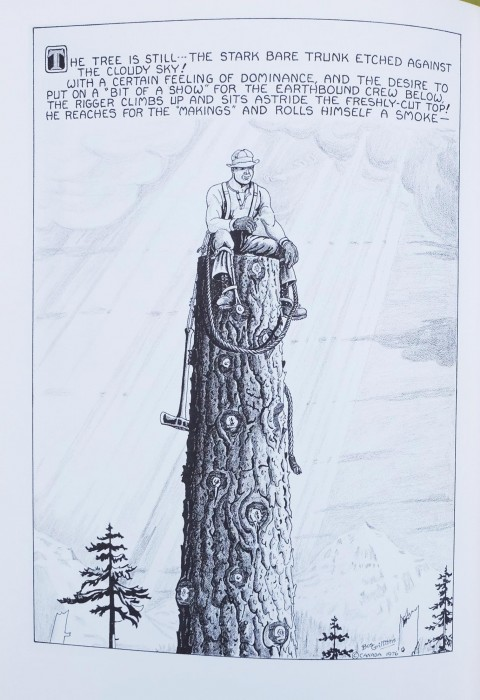 The final of Bus' six drawings of a high rigger topping a spar tree included in Bush Poems