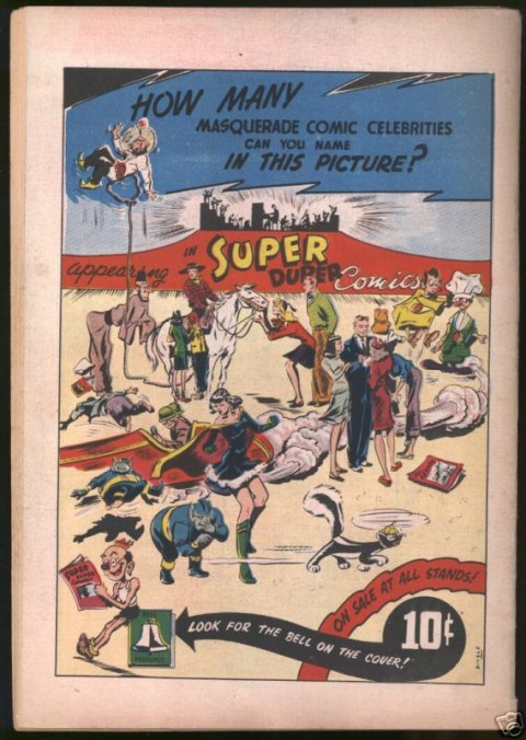 Back cover for Dizzy Don Comics No. 4 by F. E. Howard from the Fall of 1947 showing the characters from its other original content title, Super Duper Comics No. 3.