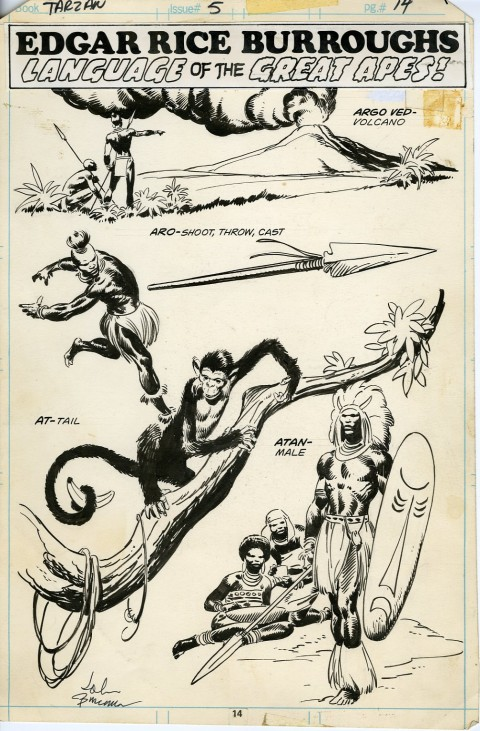 Edgar Rice Burroughs Tarzan issue 5 Pin-Up by John Buscema.  Source.