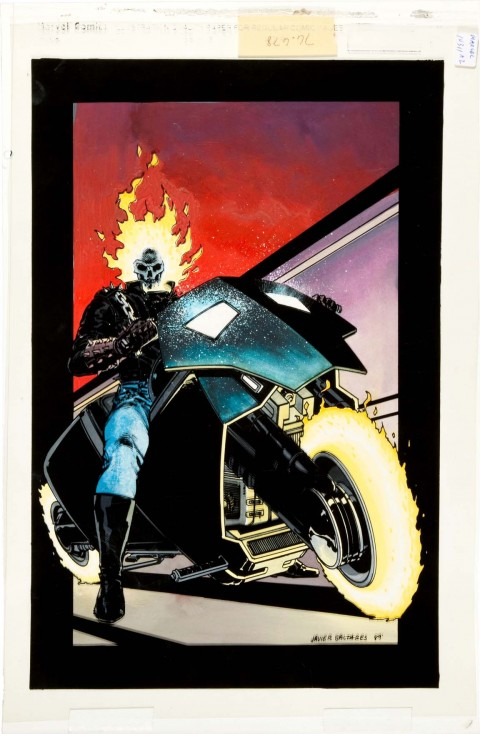 Ghost Rider issue 1 cover by Javier Saltares and Bill Wray.  Source.
