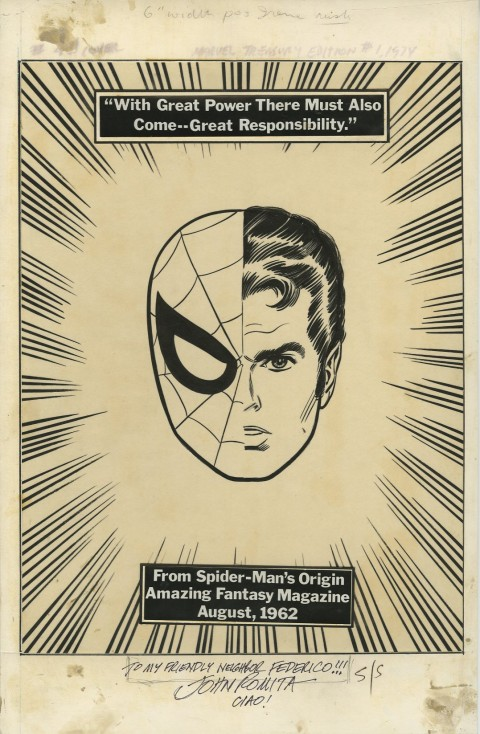 Marvel Treasury Edition issue 1 back cover by John Romita.  Source.