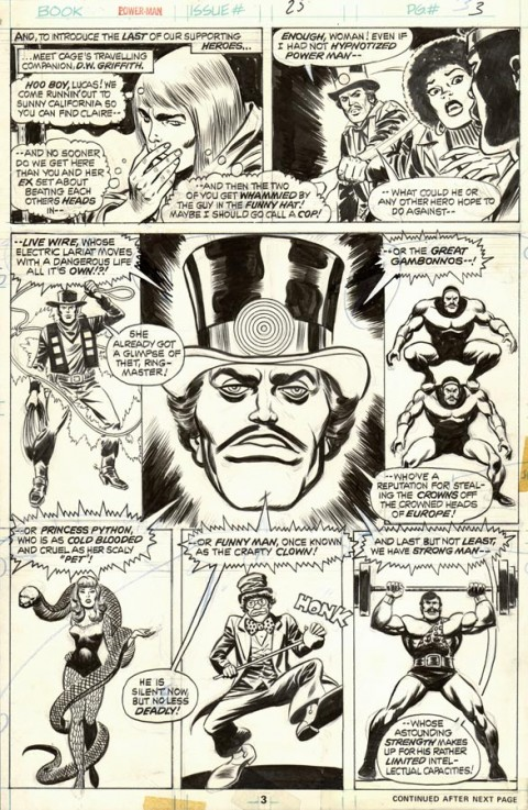 Power Man issue 25 page 3 by Ron Wilson and Fred Kida.  Source.