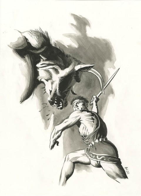 Theseus versus The Minotaur by Thomas Yeates.  Source.