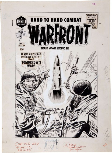 Warfront issue 34 cover by Jack Kirby.  Source.