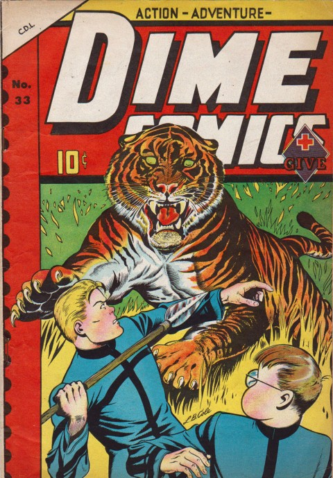 "Dime Comics No. 33 from the summer of 1949 and using cover artwork from 4Most Comics No. 34. Notice the original WECA ""Dime"" Banner"