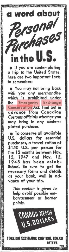 I guess you couldn't even bring back any comics on a trip to the states. From the Globe and Mail, May 1948