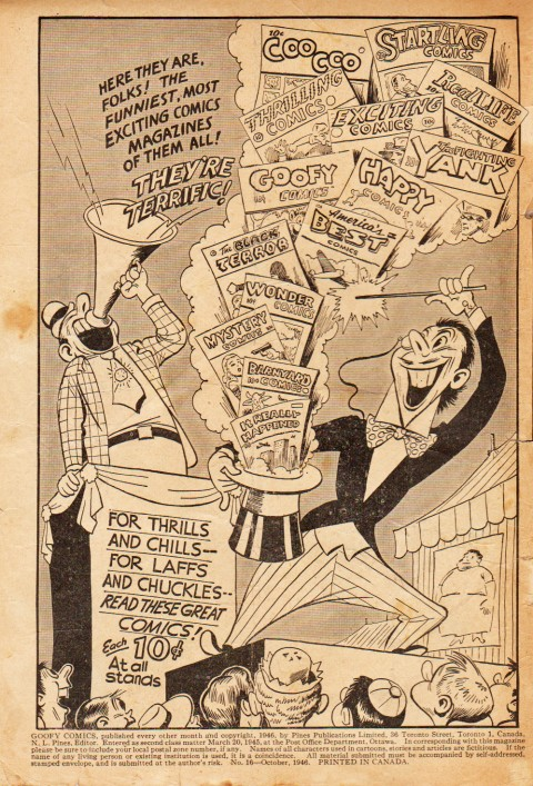 The inside cover from Goofy Comcs 16 by Pines from Oct. 1946, showing that American titles were back in Canada