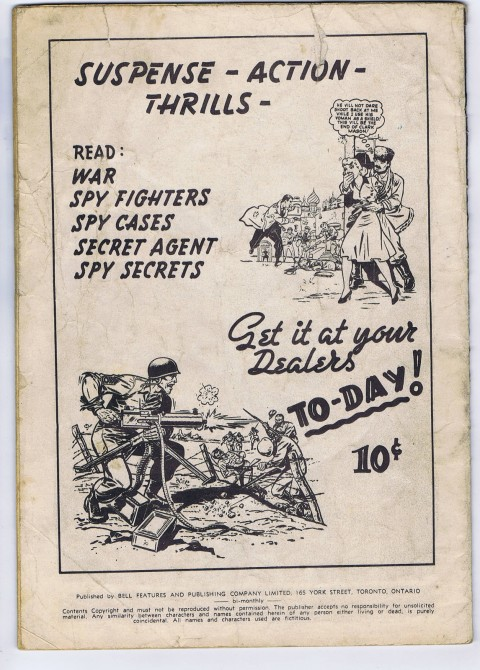 Back cover from Super Duper Comics No. 193 showing some of the war and espionage titles
