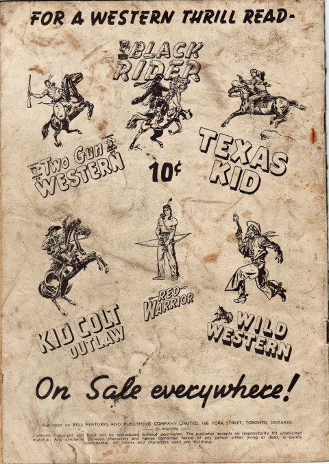 Back cover from Bell's World's Greatest Comics No. 11 repack showing more western tittles.