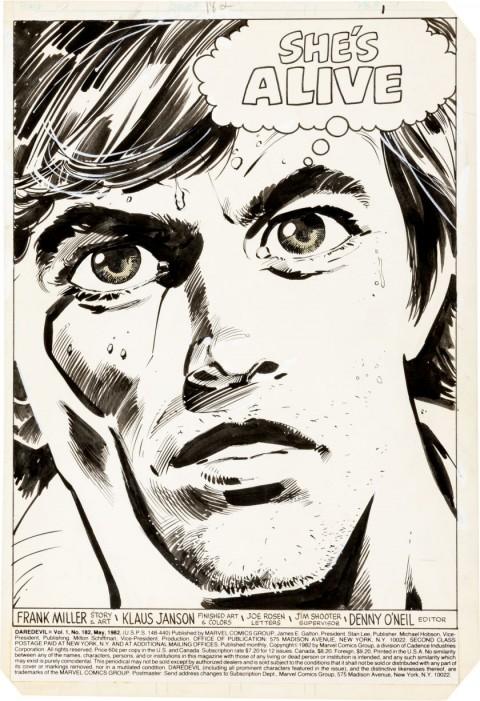 Daredevil issue 182 splash by Frank Miller and Klaus Janson.  Source.