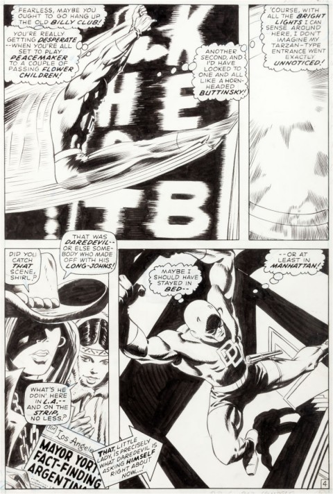 Daredevil issue 64 Page 4 by Gene Colan and Syd Shores.  Source.