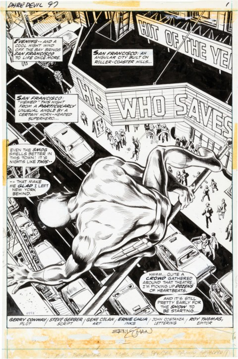 Daredevil issue 97 Splash Page 1 by Gene Colan and Ernie Chan.  Source.
