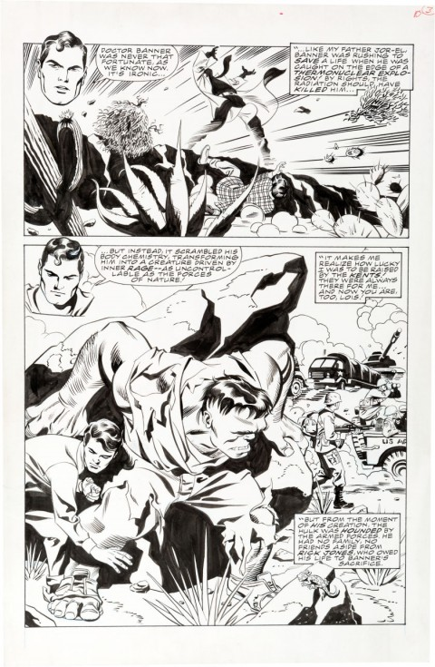Incredible Hulk vs. Superman Page 3 by Steve Rude.  Source.