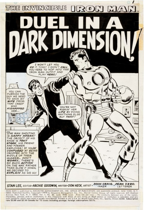 Iron Man issue 26 Splash Page 1 by Don Heck and Johnny Craig.  Source.